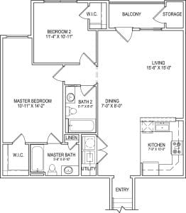 2 Bed / 2 Bath / 1,071 sq ft