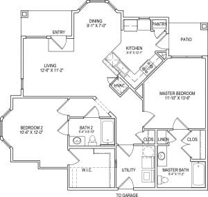 2 Bed / 2 Bath / 1,135 sq ft