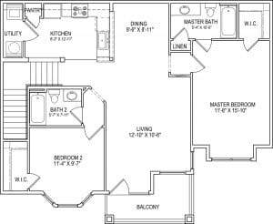 2 Bed / 2 Bath / 1,170 sq ft