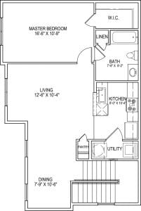1 Bed / 1 Bath / 909 sq ft